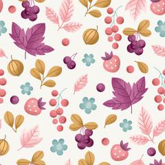 Wild berry seamless pattern. Fun berries fabric background.