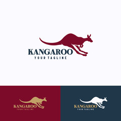 Kangaroo Logo Template Design. Creative Vector Emblem, for Icon or Design Concept.