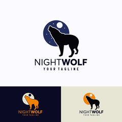 Night Wolf Logo Template Design. Creative Vector Emblem, for Icon or Design Concept.