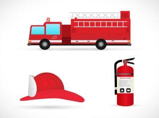 Firefighter Items Illustration