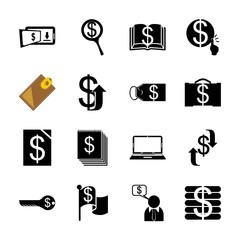 icon Currency with focus, money, office, search and book
