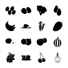 icon Fruits And Vegetables with olive crow, fruits, cherries, olive branch and plum tree