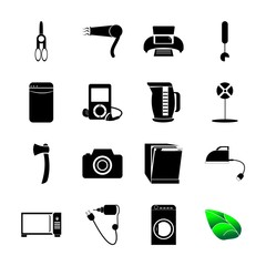 icon Technology with mp3, ventilation, steel, hygiene and housework