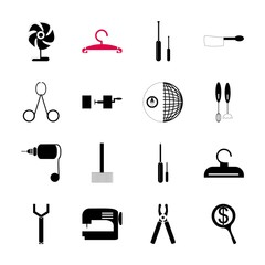 icon Instruments And Tools with building, umbrella, collection, navigation and rebuilding
