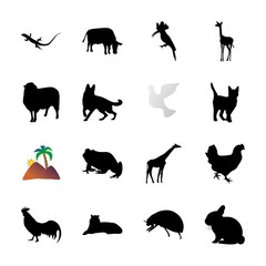 icon Animal with ladybird, asian tiger, hairy, rabbit and frog