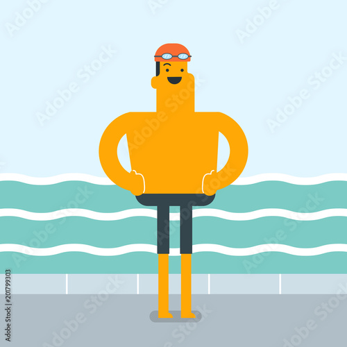 Cheerful caucasian white sportsman standing on the background of