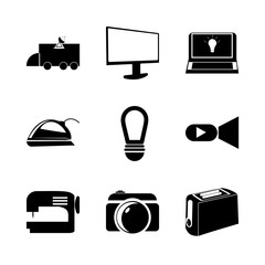 icon Electronic with ironing, work , photo, flash and multimedia