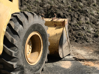 Close-up of a Construction site Bulldozer. Photo Image