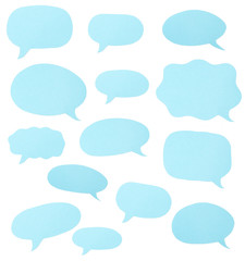 Blue Paper Cut Outs of Speech Bubbles