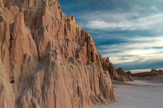 Close-up of the Amazing bentonite clay formations of Cathedral Gorge State Park at Sunset in Nevada, USA.