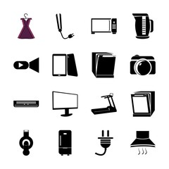 icon Electronic with dirty, display, microwave, tea and multimedia
