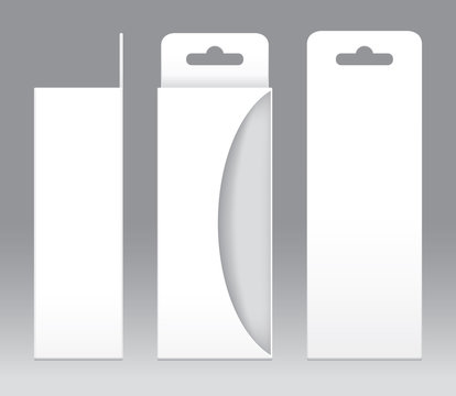 Hanging Box White window shape cut out Packaging Template blank. Empty Box white Template for design product package gift box, White Box packaging paper kraft card board package