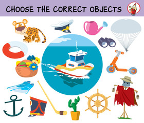 Choose the correct objects for boat ride. Educational matching game for children. Cartoon vector illustration