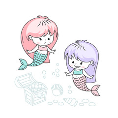 Little mermaids with treasures vector illustration