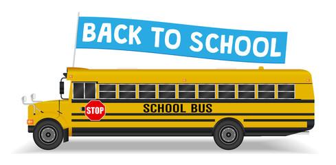 back to school flag on school bus