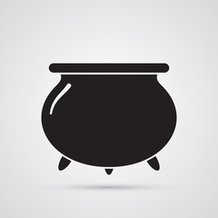 Carved silhouette flat icon, simple vector design. Cartoon witches cauldron for illustration of magic, witchcraft, boiling potions. Symbol of Halloween