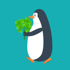 Funny penguin, Antarctic bird, with clover bouqet. Holiday Saint Patrick.