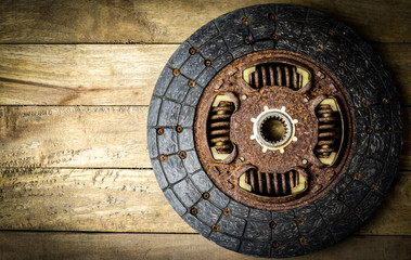 Rusty old clutch car spare parts not used