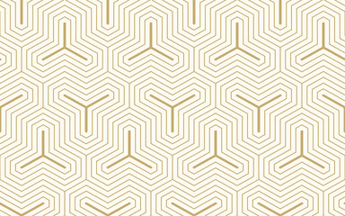 Pattern seamless abstract background gold color and line. Geometric line vector. Fotoväggar