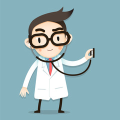 Vector Illustration, Doctor tiny character use stethoscopes check health