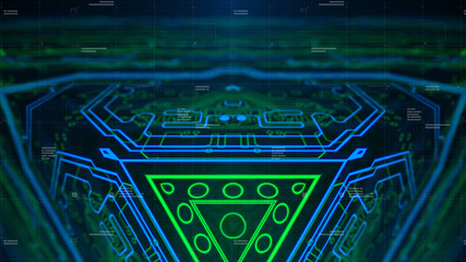 Conceptual technology futuristic motherboard design. Computer chipset link connection. Electric elements. Blue Green Printed Circuit board. PCB Background backdrop.