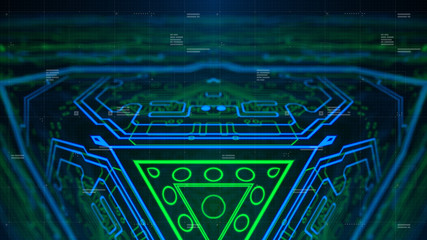 Mirrored pattern. Blue, green, cyan background with digital integrated network technology. Printed circuit board. Technology background. Neon. 3D illustration. Computer infographics website.