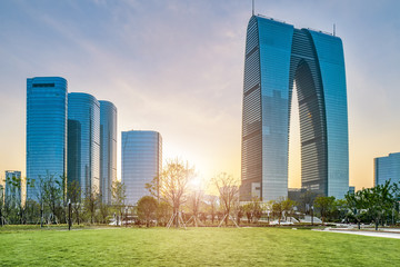 Suzhou CBD financial center skyscraper Wall mural