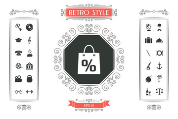 Shopping bag with the sale, percent, discount symbol