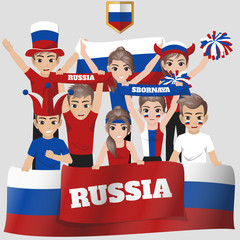Set of Soccer / Football Supporter / Fans of Russia National Team