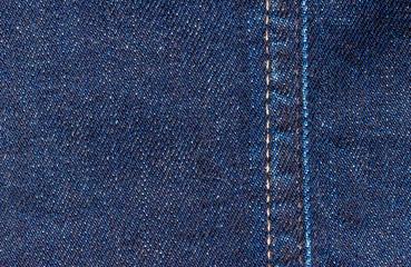 Blue classic stitched denim fabric. Texture of linen cloth