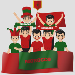 Set of Soccer / Football Supporter / Fans of Morocco National Team