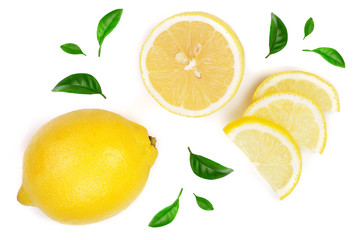 lemon and slices with leaf isolated on white background. Flat lay, top view Fototapete