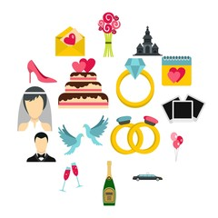 Wedding icons set in flat style. Marriage set collection vector illustration