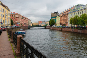 RUSSIA, SAINT PETERSBURG - AUGUST 18, 2017:  View of Moika river embankment on a rainy summer day