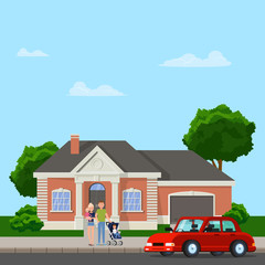 The family is standing outside. Vector flat illustration.