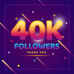 40k or 40000 followers thank you colorful background and glitters. Illustration for Social Network friends, followers, Web user Thank you celebrate of subscribers or followers and likes