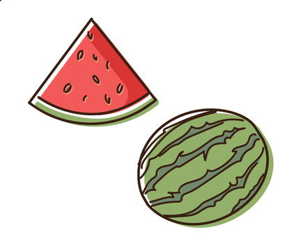 Watermelon outline illustration with watercolor effect. Vector doodle sketch hand drawn fruit illustration