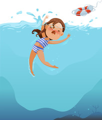 Drowning Cute little girl in swimsuit is cramping. Children are drowning the deep sea.Efforts above water. Shock and panic. Ask for help. Rubber tires are thrown to save lives,Water Sports and Rescue