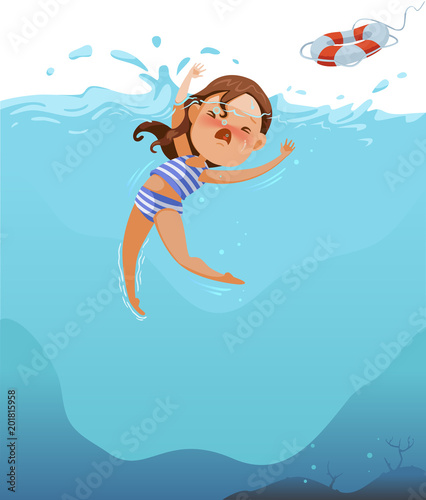 Drowning Cute little girl in swimsuit is cramping  Children