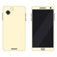 Vector Set of Flat Smartphone Illustrations. Back and Front View.