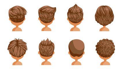 Boy hair rear view set. head of a little boy. cute  hairstyle.Variety  child  modern fashion for assortment. long , short , curly hair. salon hairstyles and trendy haircut of male. vector icon set