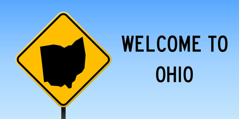 Ohio map on road sign. Wide poster with Ohio us state map on yellow rhomb road sign. Vector illustration.
