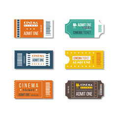 Cinema tickets design in different variants and colors. Isolated on white background. Vector illustration.