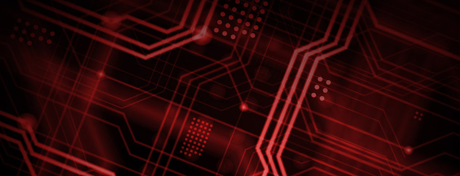 An abstract technological background consisting of a multitude of luminous guiding lines and dots forming a kind of physical motherboard. Red color