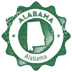 Alabama map vintage stamp. Retro style handmade label, badge or element for travel souvenirs. Dark green rubber stamp with us state map silhouette. Vector illustration.