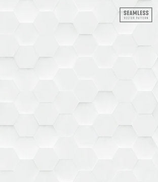 3d Hexagon polygonal seamless vector pattern, white geometric business background