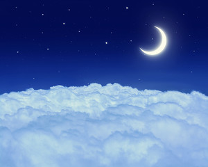 Nightly sky with moon and stars