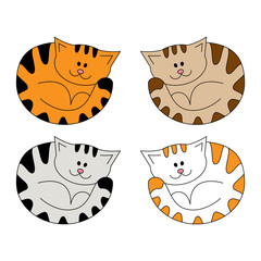 Cartoon cute lying cat. Illustration isolated on a white background in doodle style.
