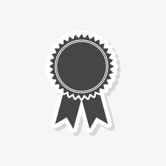 Badge with ribbons sticker, Award ribbon, simple vector icon