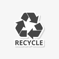 Recycle eco sticker, Recycle sign, simple vector icon